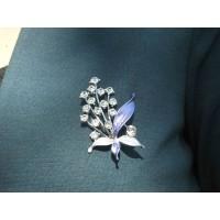 Lila Yapraklı Çiçek Broş