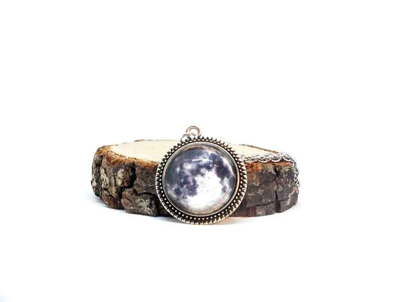 Galaxy Dolunay Antik Gümüş Kolye-Kolye-RengaLux