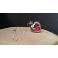 Kalp Kırmızı Çiçek Kolye