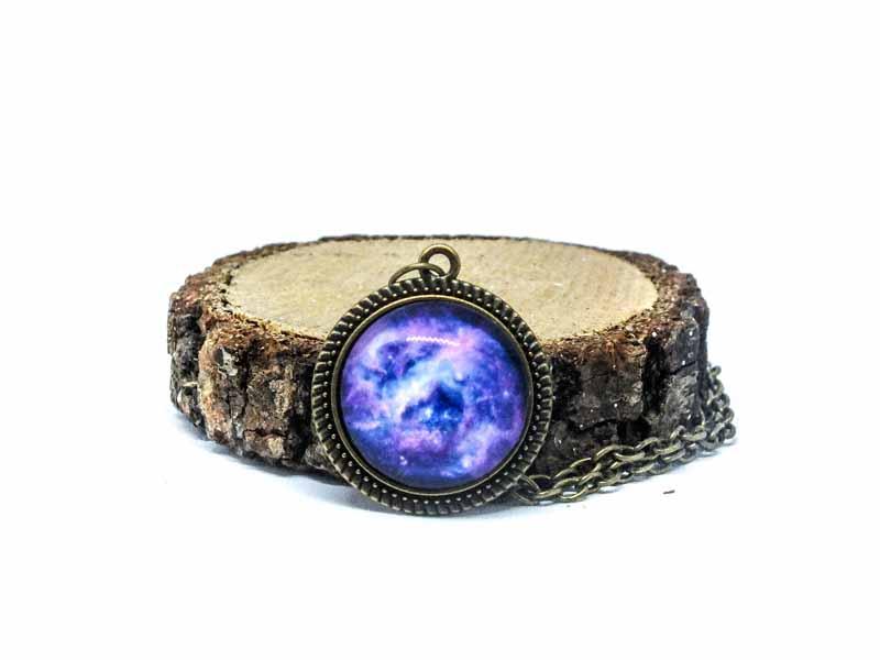 Mor Galaxy Antik Bronz Kolye-Kolye-RengaLux