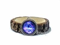 Mor Galaxy Antik Gümüş Kolye
