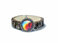 Galaxy Nebula Antik Gümüş Kolye