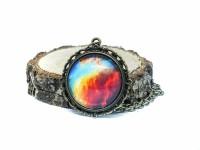 Galaxy Nebula Antik Bronz Kolye Desenli Kenar