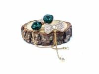 Yeşil Taşlı Papyon Broş
