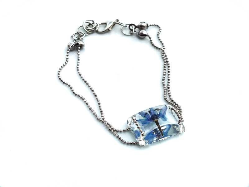 Mavi Çiçekli Bileklik-Reçine Kolyeler-RengaLux