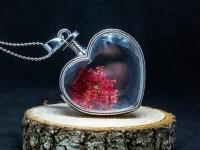 Kırmızı Çiçekli Yaşayan Kolye