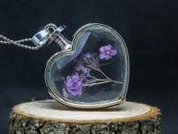 Mor Çiçekli Yaşayan Kolye