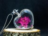Pembe Çiçekli Yaşayan Kolye